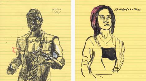 Mounira zeichnet Menschen, denen sie begegnet
